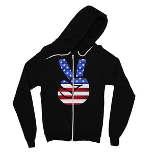 America Fingers Flag Fine Jersey Zip Hoodie Apparel Flagdesignproducts.com