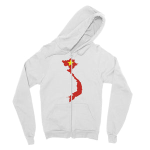Vietnam Continent Flag Fine Jersey Zip Hoodie Apparel Flagdesignproducts.com