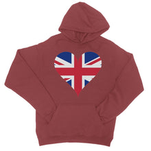 United Kingdom Heart Flag College Hoodie Apparel Flagdesignproducts.com