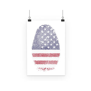 Usa Flag Finger Print Poster Wall Decor Flagdesignproducts.com