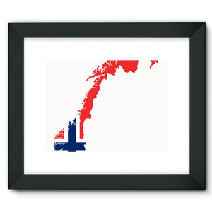 Norway Continent Flag Framed Fine Art Print Wall Decor Flagdesignproducts.com