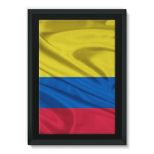 Waving Colombia Fabric Flag Framed Canvas Wall Decor Flagdesignproducts.com