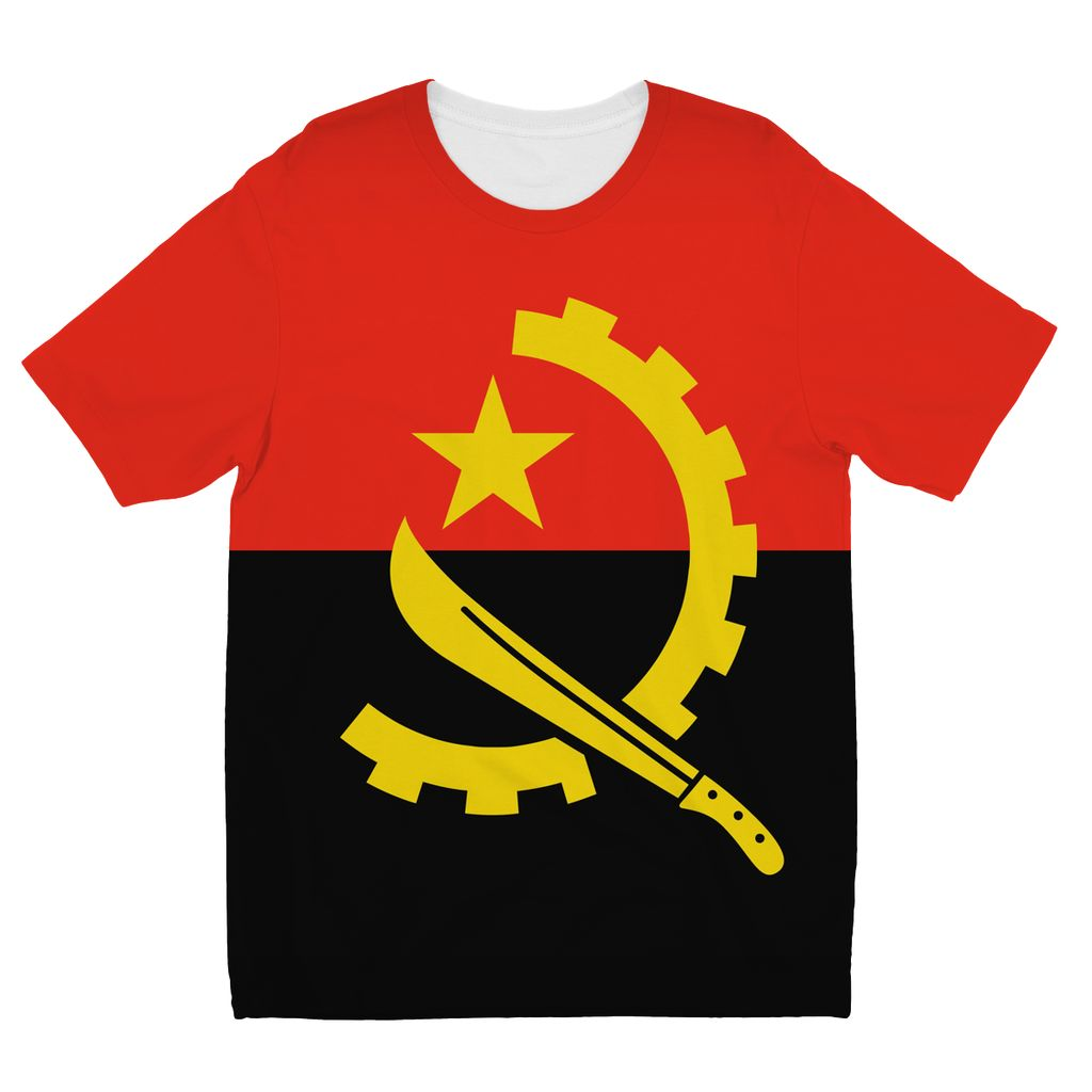Angola Flag Kids Sublimation T-Shirt Apparel Flagdesignproducts.com