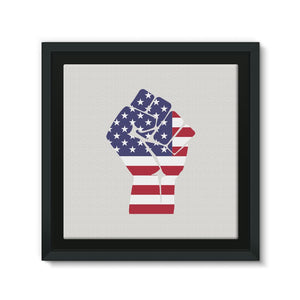 America First Hand Flag Framed Eco-Canvas Wall Decor Flagdesignproducts.com
