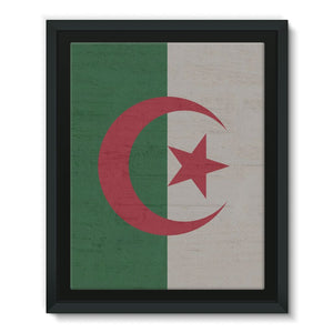Algeria Stone Wall Flag Framed Eco-Canvas Decor Flagdesignproducts.com