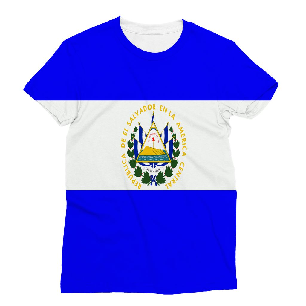 Flag Of El Salvador Sublimation T-Shirt Apparel Flagdesignproducts.com