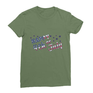 4Th July Usa Text Flag Womens Fine Jersey T-Shirt Apparel Flagdesignproducts.com