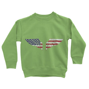 America Usa Wings Flag Kids Sweatshirt Apparel Flagdesignproducts.com