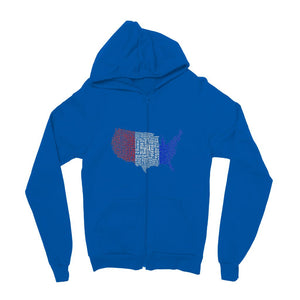 Usa Text Continent Flag Kids Zip Hoodie Apparel Flagdesignproducts.com