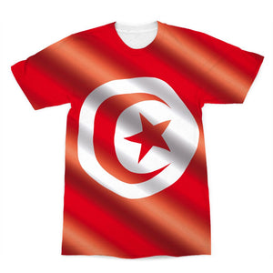 Waving Tunisia Flag Sublimation T-Shirt Apparel Flagdesignproducts.com