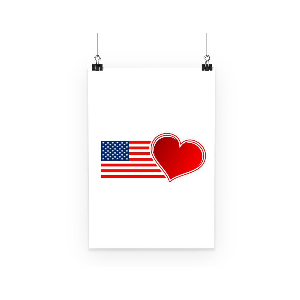 Usa Flag And Heart Poster Wall Decor Flagdesignproducts.com