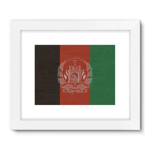 Afganistan Stone Wall Flag Framed Fine Art Print Wall Decor Flagdesignproducts.com