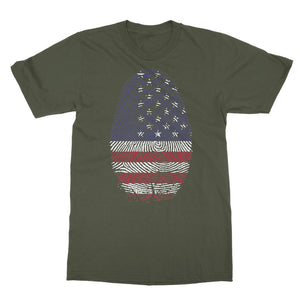 Usa Flag Finger Print Softstyle Ringspun T-Shirt Apparel Flagdesignproducts.com