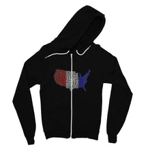 Usa Text Continent Flag Fine Jersey Zip Hoodie Apparel Flagdesignproducts.com