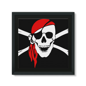 Bones And Skull Pirate Flag Framed Eco-Canvas Wall Decor Flagdesignproducts.com