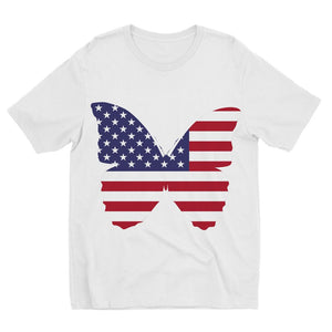 Usa Flag Butterfly Kids Sublimation T-Shirt Apparel Flagdesignproducts.com