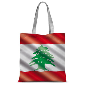 Waving Lebanon Flag Sublimation Tote Bag Accessories Flagdesignproducts.com