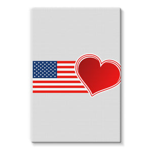 Usa Flag And Heart Stretched Eco-Canvas Wall Decor Flagdesignproducts.com
