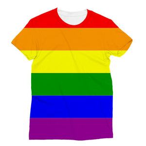 Colorful Rainbow Lgbt Flag Sublimation T-Shirt Apparel Flagdesignproducts.com