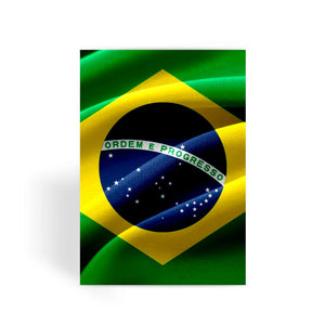 Waving Fabric Brazil Flag Greeting Card Prints Flagdesignproducts.com