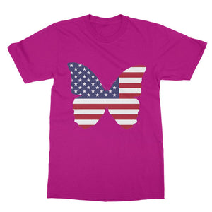 Usa Flag Butterfly Softstyle Ringspun T-Shirt Apparel Flagdesignproducts.com