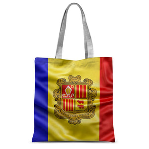 Waving Andorra Fabric Flag Sublimation Tote Bag Accessories Flagdesignproducts.com