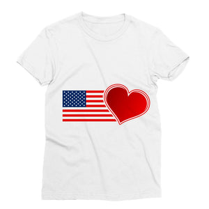 Usa Flag And Heart Sublimation T-Shirt Apparel Flagdesignproducts.com
