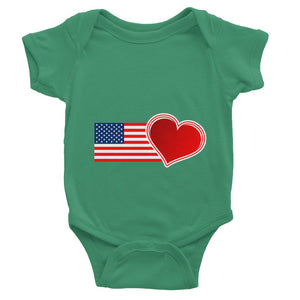 Usa Flag And Heart Baby Bodysuit Apparel Flagdesignproducts.com