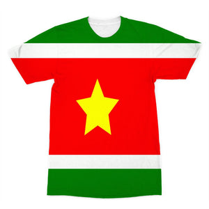 Flag Of Suriname Sublimation T-Shirt Apparel Flagdesignproducts.com