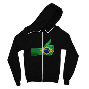 Brazil Hand Flag Fine Jersey Zip Hoodie Apparel Flagdesignproducts.com