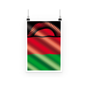 Waving Malawi Flag Poster Wall Decor Flagdesignproducts.com