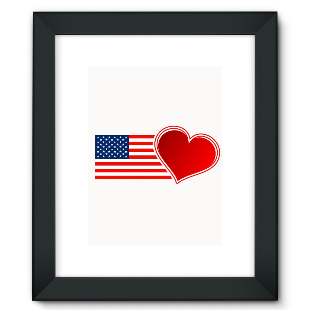 Usa Flag And Heart Framed Fine Art Print Wall Decor Flagdesignproducts.com