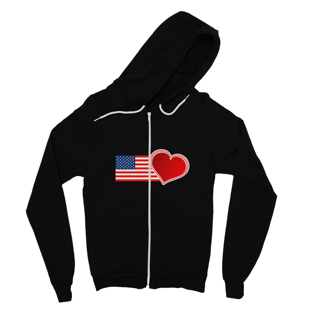 Usa Flag And Heart Fine Jersey Zip Hoodie Apparel Flagdesignproducts.com