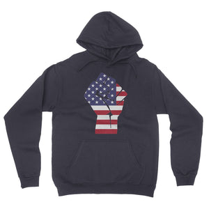 America First Hand Flag California Fleece Pullover Hoodie