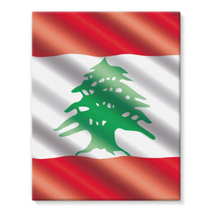Waving Lebanon Flag Stretched Eco-Canvas Wall Decor Flagdesignproducts.com