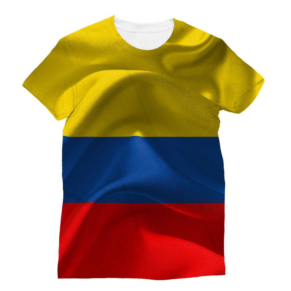Waving Fabric Colombia Flag Sublimation T-Shirt Apparel Flagdesignproducts.com
