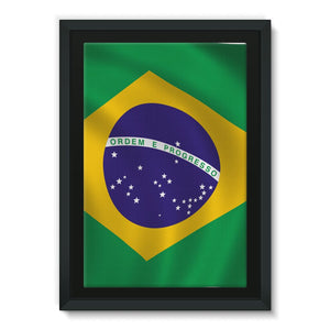 Waving Brazil Flag Framed Eco-Canvas Wall Decor Flagdesignproducts.com