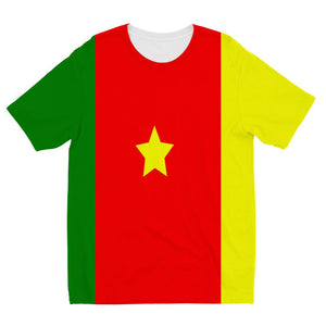 Flag Of Cameroon Kids Sublimation T-Shirt Apparel Flagdesignproducts.com