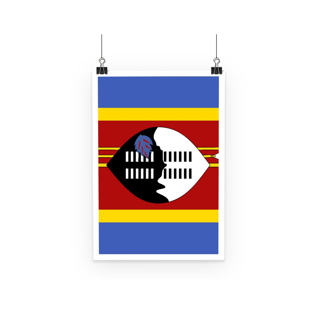 Flag Of Swaziland Poster Wall Decor Flagdesignproducts.com