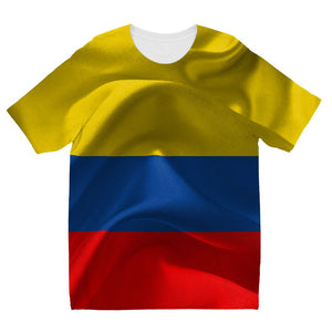 Waving Fabric Colombia Flag Kids Sublimation T-Shirt Apparel Flagdesignproducts.com