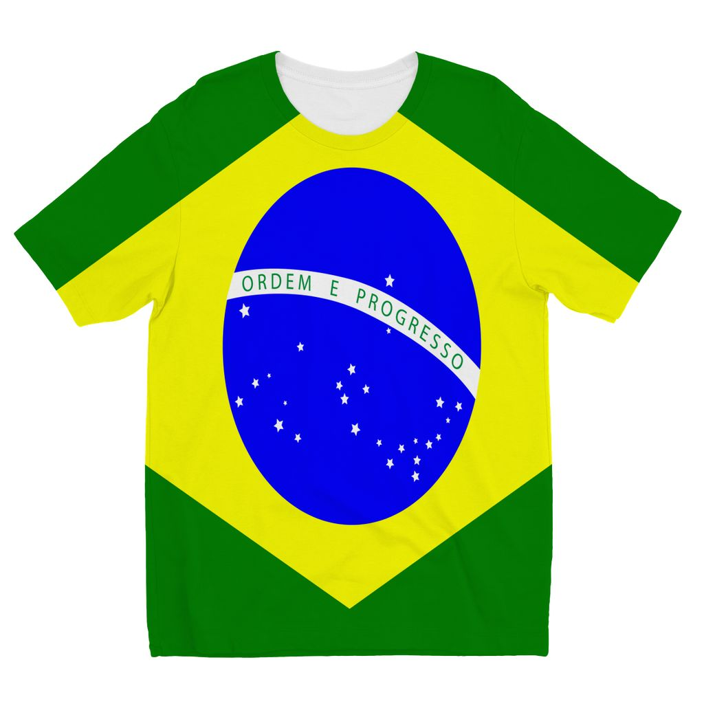 Flag Of Brazil Kids Sublimation T-Shirt Apparel Flagdesignproducts.com
