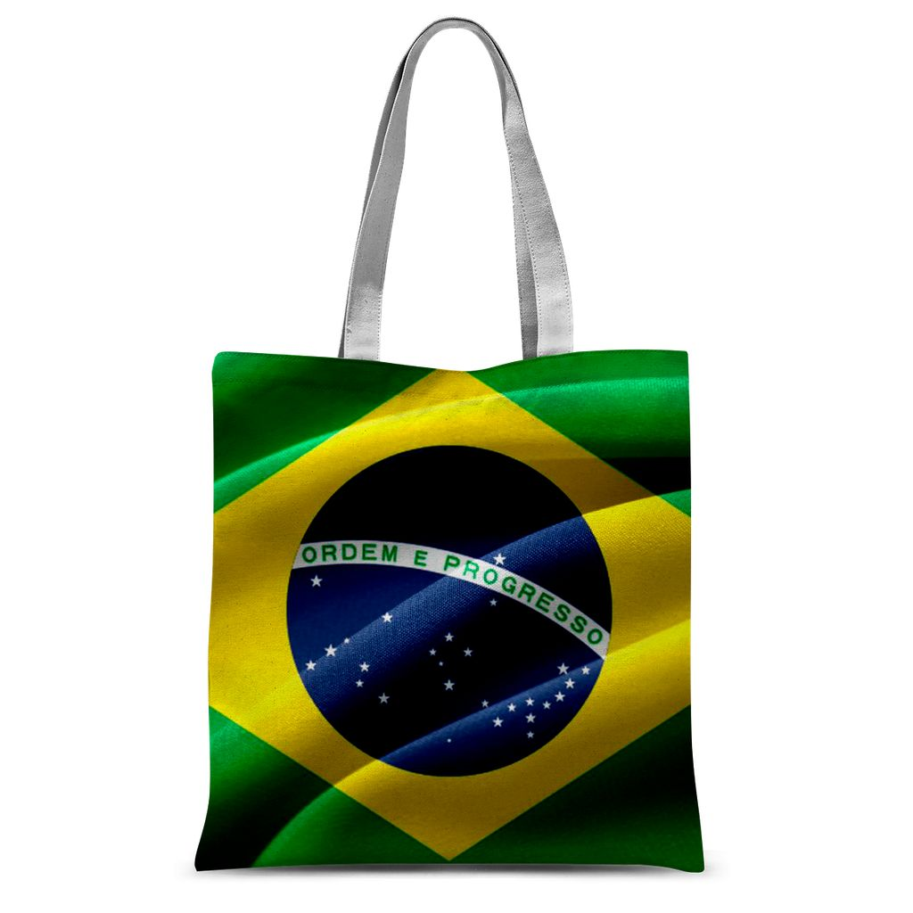 Waving Fabric Brazil Flag Sublimation Tote Bag Accessories Flagdesignproducts.com
