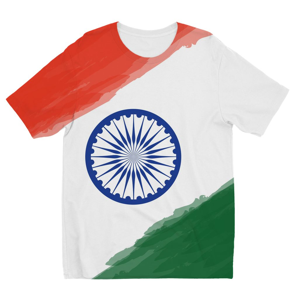 Watercolor India Flag Kids Sublimation T-Shirt Apparel Flagdesignproducts.com