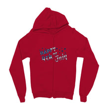 4Th July Usa Text Flag Kids Zip Hoodie Apparel Flagdesignproducts.com