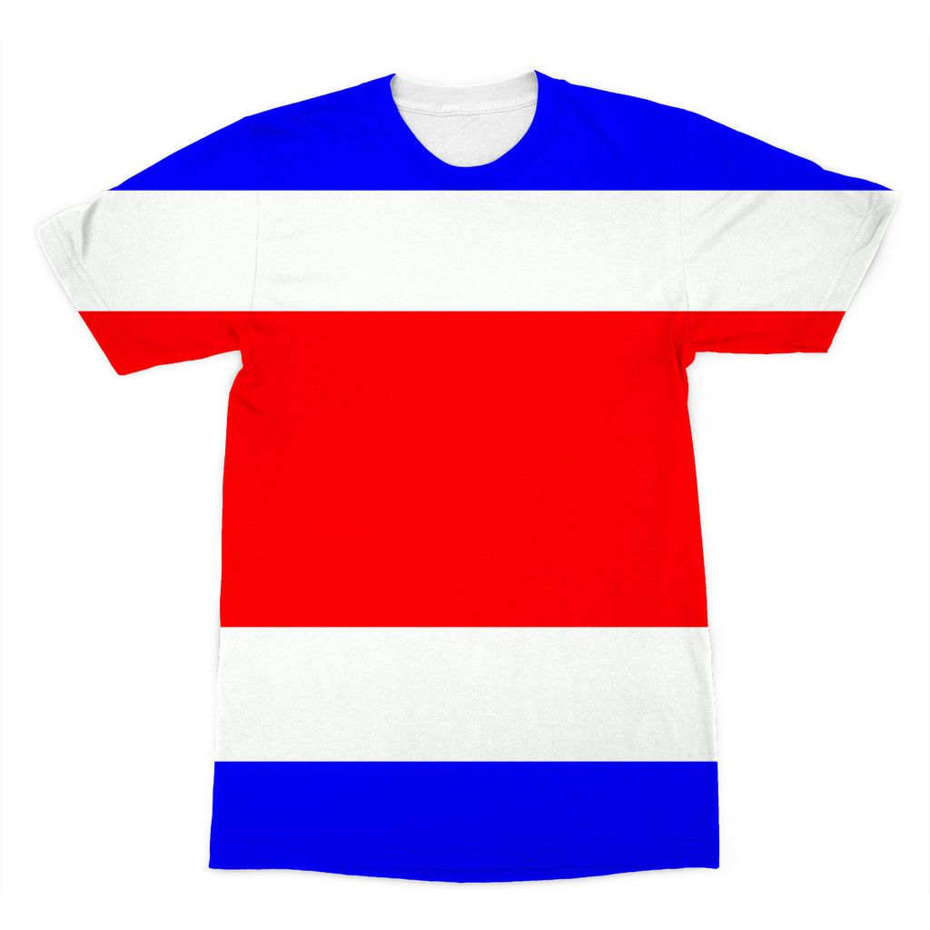 Flag Of Costa Rica Sublimation T-Shirt Apparel Flagdesignproducts.com