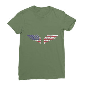 America Usa Wings Flag Womens Fine Jersey T-Shirt Apparel Flagdesignproducts.com