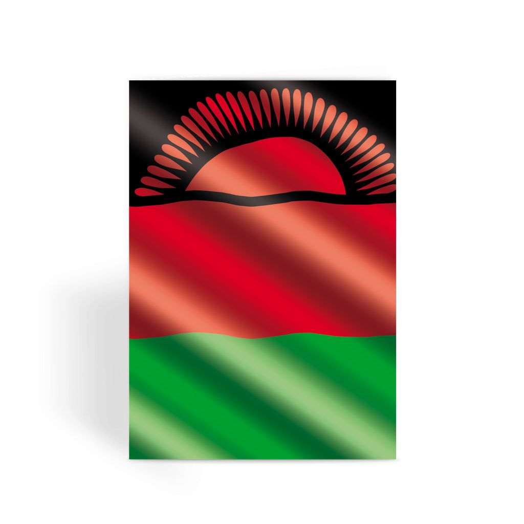 Waving Malawi Flag Greeting Card Prints Flagdesignproducts.com