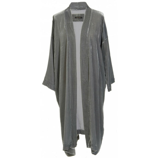 Jade coloured silk velvet kimono worn open.