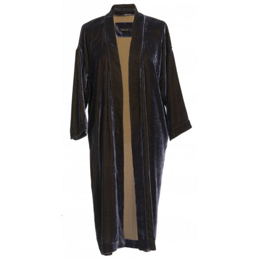 Coal coloured silk velvet kimono worn open.