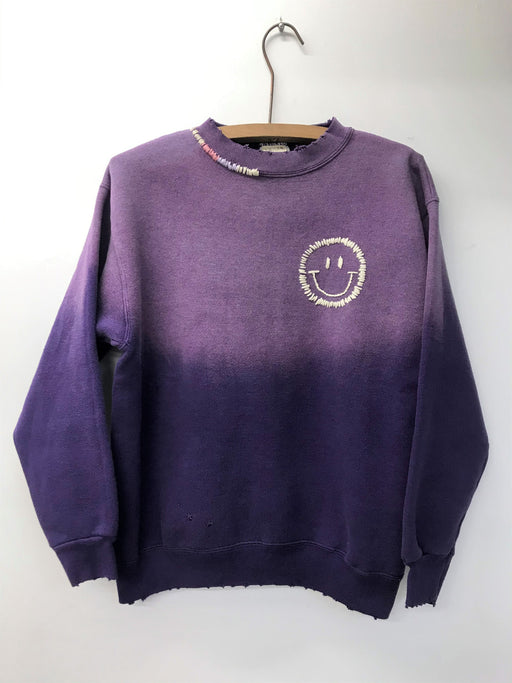 Happy Face Sweatshirt -Purple